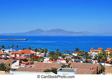 a view of Lobos Island from Corralejo in Fuerteventura, Canary Islands, Spain