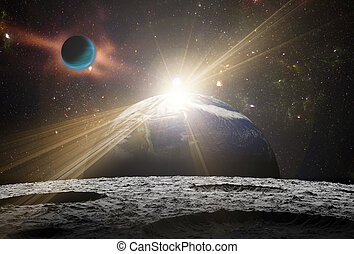 A view of planet earth and the universe from the moon's surface.