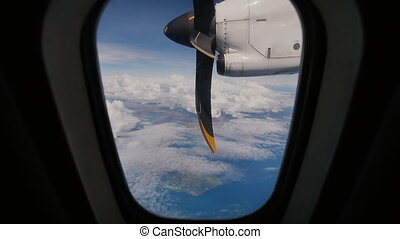 A view of the aircraft propeller motor from the airplane...