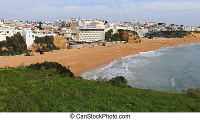 View of the beach at Albuferie, Portugal from clifftop