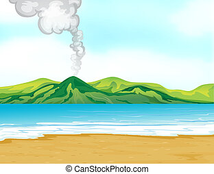 A view of the beach near a volcano - Illustration of the...