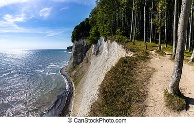 A view of the beautiful lime and chalkstone cliffs in Jasmund National Park on Ruegen Island in Germany