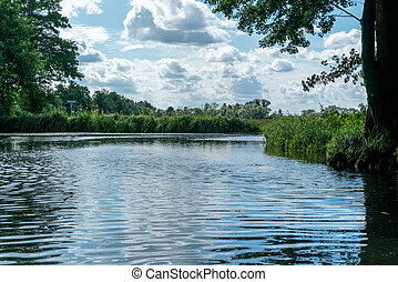 view of the canals and channels of the Spreewald forest and ...