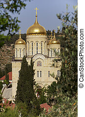 A view of the Church of All Saints in the land of the Russian people who shone on the territory of the Gornensky Monastery in Jerusalem. Israel.