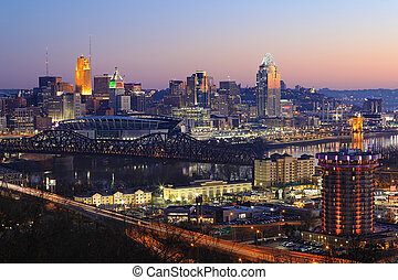 View of the Cincinnati city center at dusk