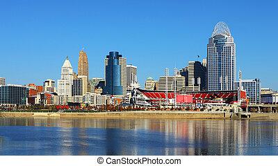 View of the Cincinnati, Ohio skyline on a beautiful day