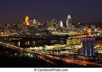 View of the Cincinnati skyline after dark