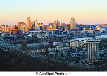 View of the Cincinnati skyline at dusk
