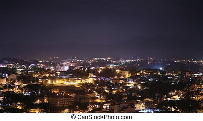A view of the city of Dalat at night shooting. Vietnam. Timelapse. Shot in 4K - 3840x2160, 25fps