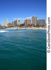 Durban, South Africa - a view of the coastline of Durban,...