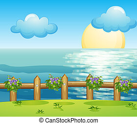 A view of the ocean - Illustration of a view of the ocean