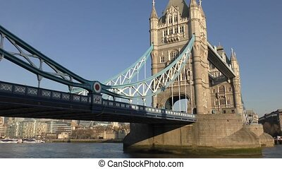 A view of the old bridge on the river Thames.