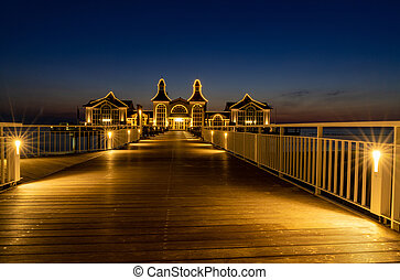 A view of the pier at Sellin on Ruegen Island at night