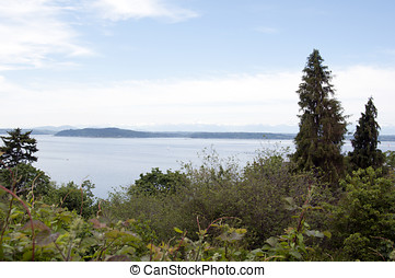 Puget Sound - A view of the Puget Sound from west Seattle, ...