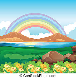 A view of the rainbow and the beautiful nature -...