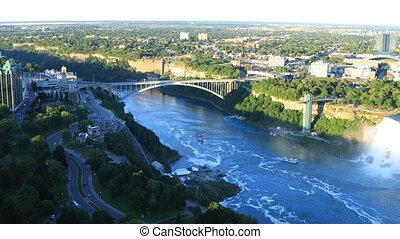 View of the Rainbow Bridge in Niagara Falls, Canada