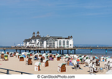 A view of the Sellin pier on Ruegen Island on the Baltic Sea
