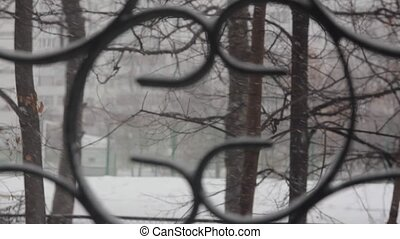 a view of the snow falling through the bars of the window