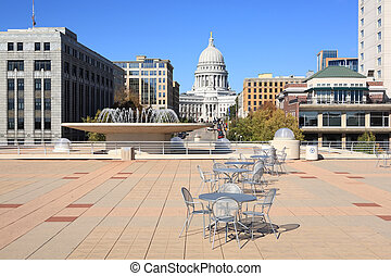 a view of the Wisconsin State Capital from the patio on top of the Monona Terrace.