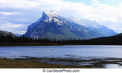View of Vermillion Lakes and Mount Rundle near Banff,...