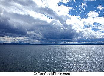 Yellowstone Lake - A view of Yellowstone Lake at Yellowstone...