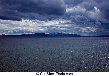 Yellowstone Lake - A view of Yellowstone Lake in Yellowstone...