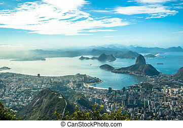 A view on Sugar Loaf from Corcovado mountain in Rio de Janeiro
