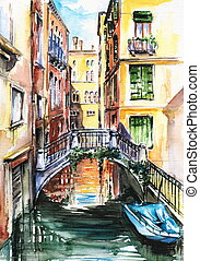 A view to the houses in Venice, and a canal crossed by a bridge watercolor painted.