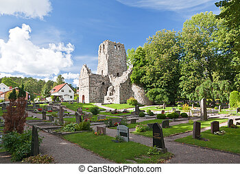 a viking church remain near uppsala in Sweden