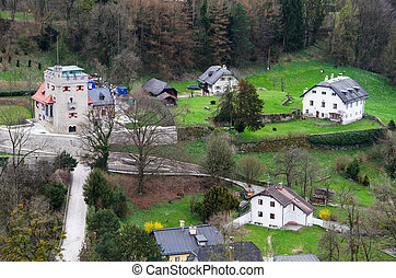 A village in Austria from top view