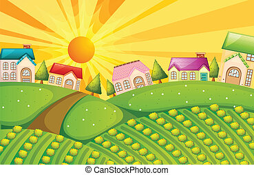 A village with farm - Illustration of a village with farm