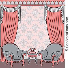 a, vindima, interior, com, curtain.