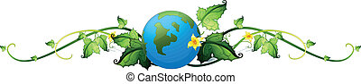 Illustration of a vine plant border with the earth on a white background