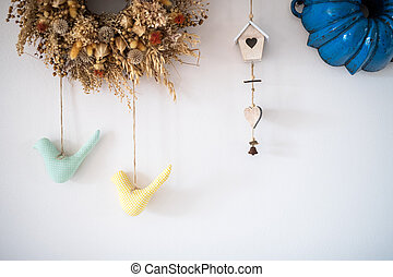 A vintage decoration on white wall background.