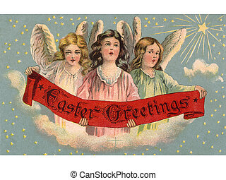 A vintage Easter postcard of three angels holding a banner