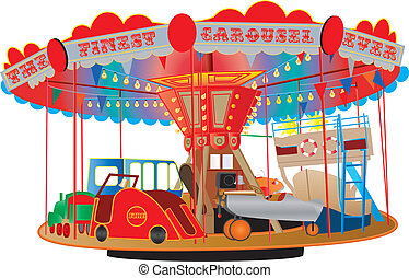 A Vintage Fairground Roundabout or Carousel with a fire engine, airplane, ship, bus, steam engine and a car isolated on white.