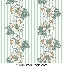 vintage floral seamless vector striped pattern in muted colors