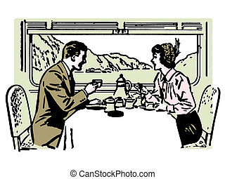 A vintage illustration of a couple dining in a train restaurant