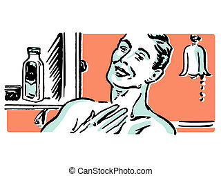A vintage illustration of a man shaving in the morning