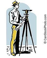 A vintage illustration of a man surveying the land