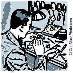 A vintage illustration of a watch maker