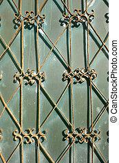 A vintage metal frame