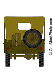 vintage military car isolated on the white background, back view