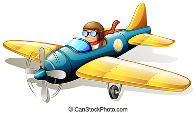 Illustration of a vintage plane flying on a white background