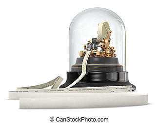 A Vintage Stock Ticker isolated on a white background