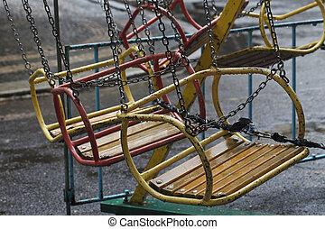 vintage swing in the rain