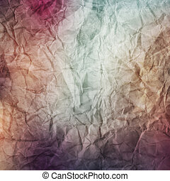 A vintage, textured crumpled paper background in blue and purple tones