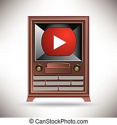A vintage TV with a modern movie bu