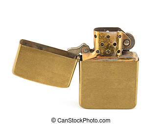 A vintage zippo lighter opened isolated on white.