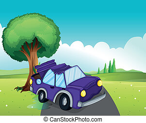 A violet car bumping the big tree at the road
